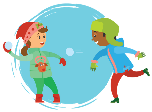 Boy and girl throwing snowball at each other Illustration