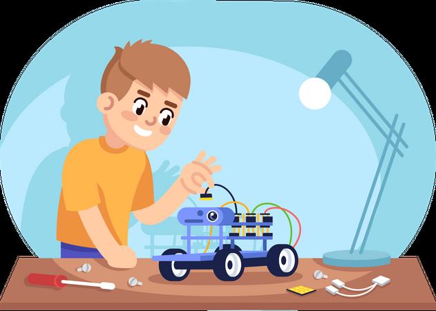 Boy assembling robot car Illustration