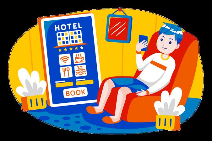 Boy booking hotel Illustration