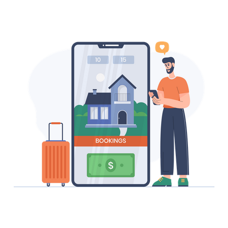 Boy booking trip Illustration