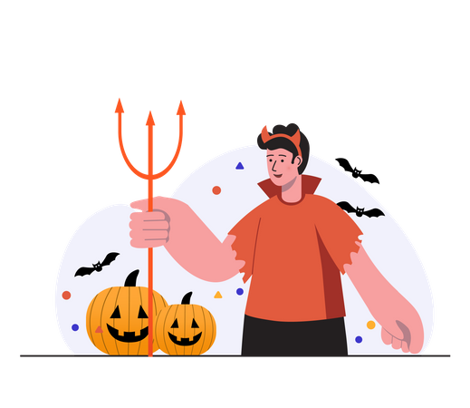 Boy celebrating halloween in devil costume Illustration