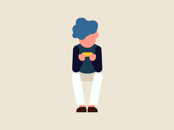 Boy chatting in his mobile Illustration