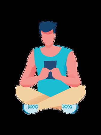 Boy chatting on tablet Illustration