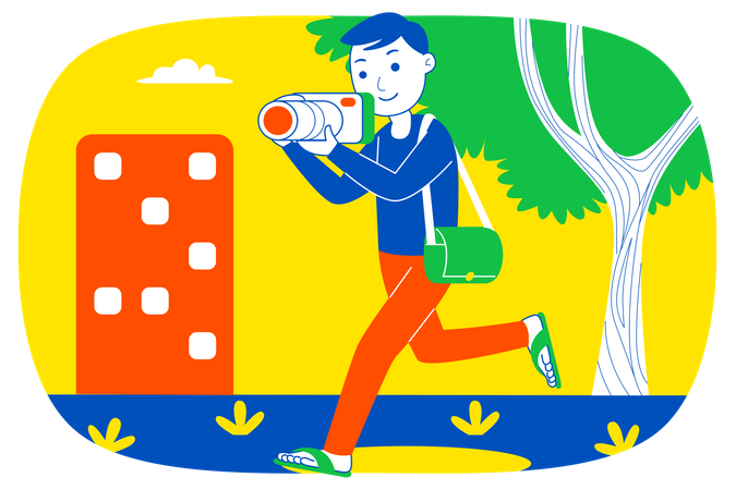 Boy clicking picture Illustration