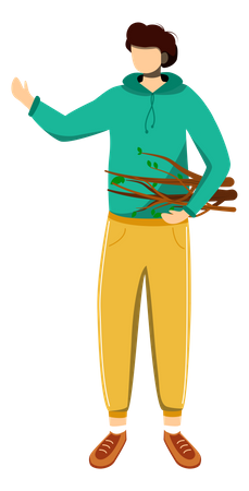 Boy collects firewood Illustration