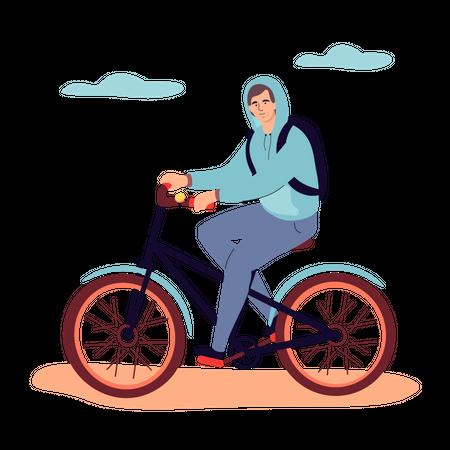 Boy cycling Illustration