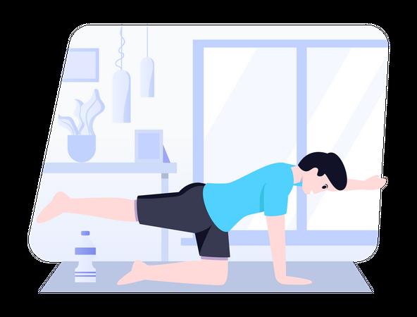 Boy doing bird position yoga Illustration