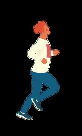 Boy doing morning run Illustration