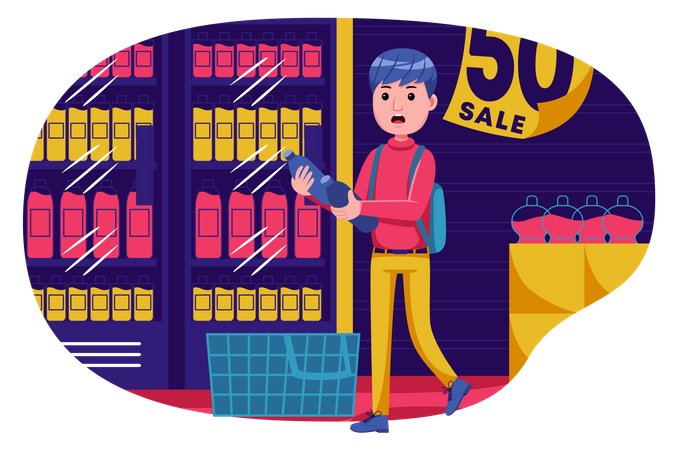 Boy doing shopping Illustration