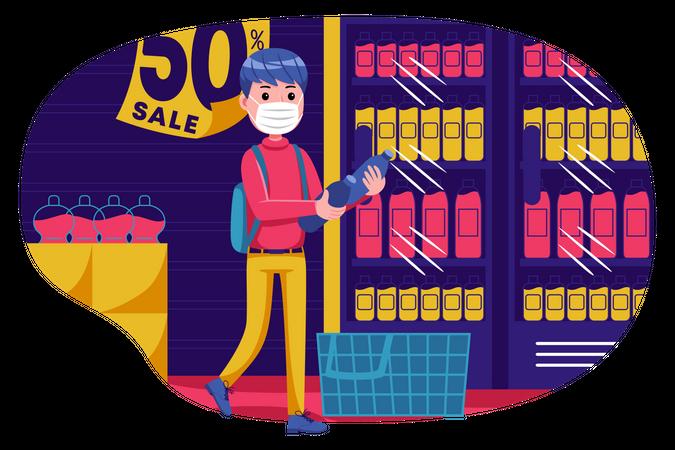 Boy doing shopping on sale Illustration