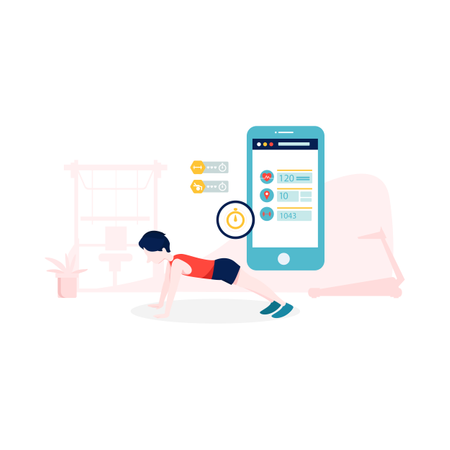 Boy doing workout and tracking it with smart gadgets Illustration