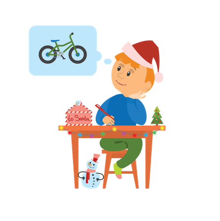 Boy dreaming about bicycle Illustration