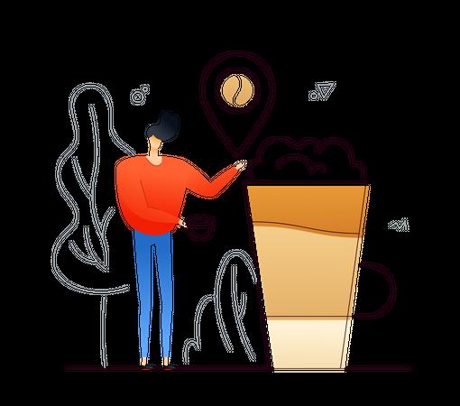 Boy drinking coffee Illustration