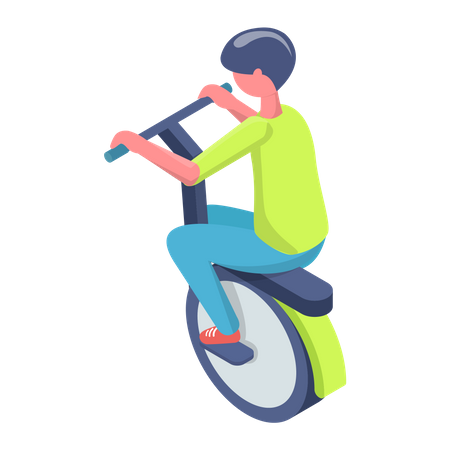 Boy driving electric cycle Illustration
