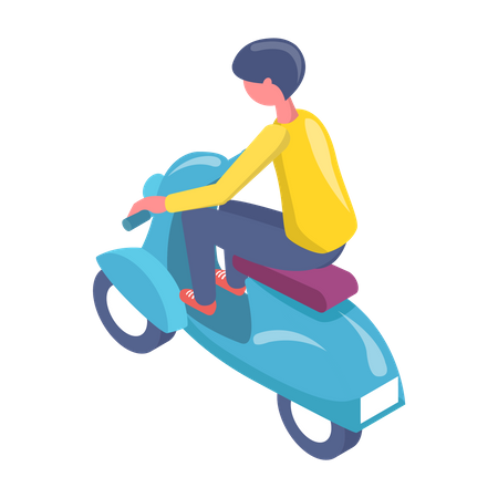 Boy driving electric scooter Illustration