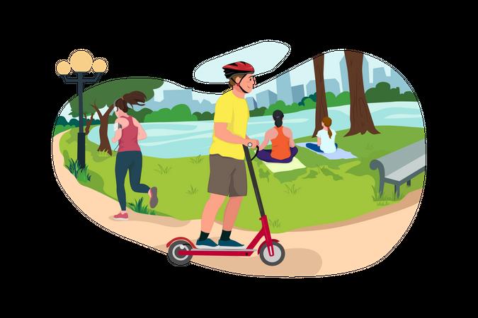 Boy Enjoy Scooter ride in the park Illustration
