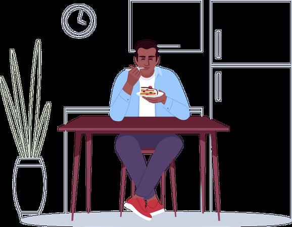 Boy enjoying cake Illustration