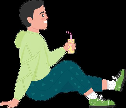 Boy enjoying lemonade drink Illustration
