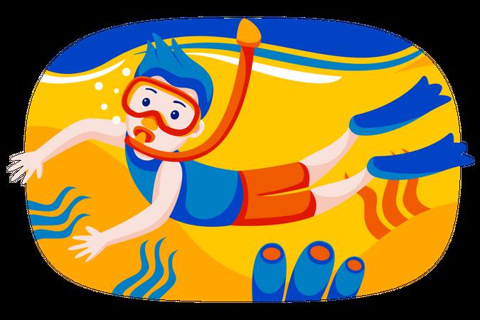 Boy enjoying scuba diving Illustration