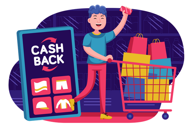 Boy getting cash from online shopping Illustration