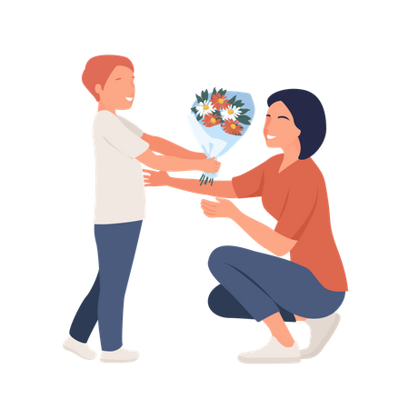 Boy Giving flowers to mom on Mother day Illustration