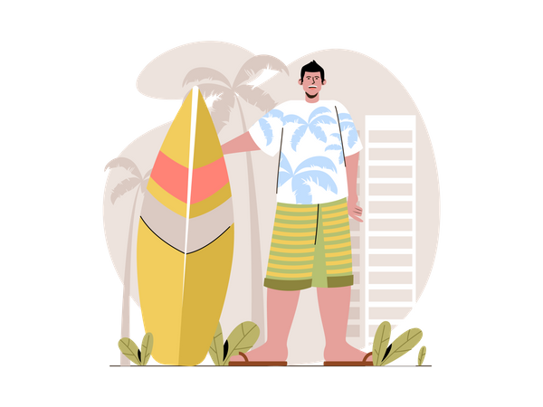 Boy going for surfing at beach Illustration