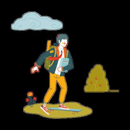 Boy going to school on skateboard Illustration