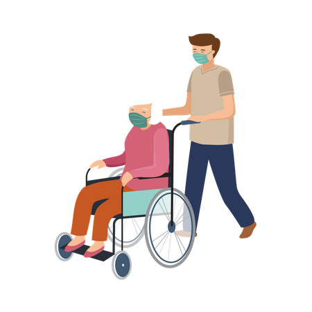 Boy helping old aged woman with wheelchair Illustration