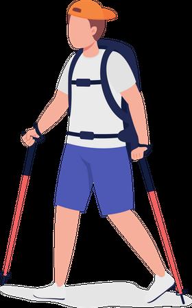 Boy Hiking Illustration