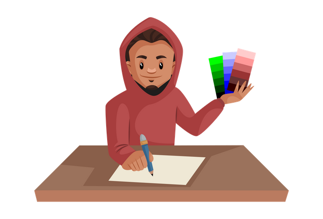 Boy holding color shaded in his hand while drawing Illustration