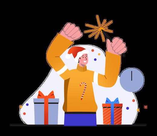 Boy holding sparkler and enjoying party Illustration