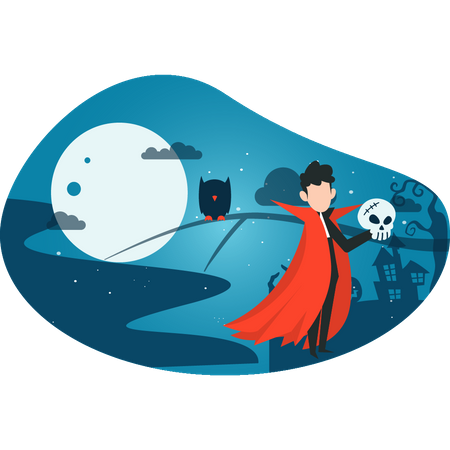 Boy in vampire costume Illustration