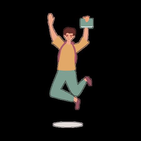 Boy jumping Illustration