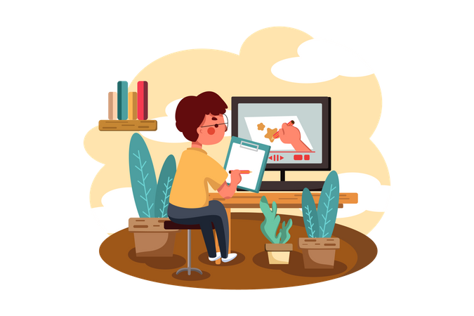 Boy learning drawing by watching online tutorial Illustration