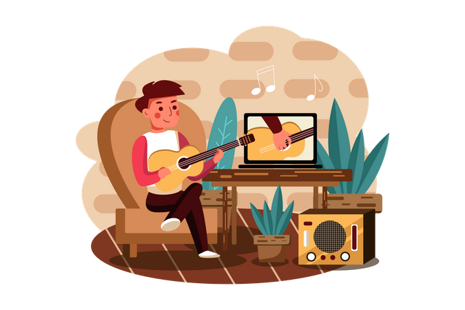 Boy learning to play musical instrument online Illustration