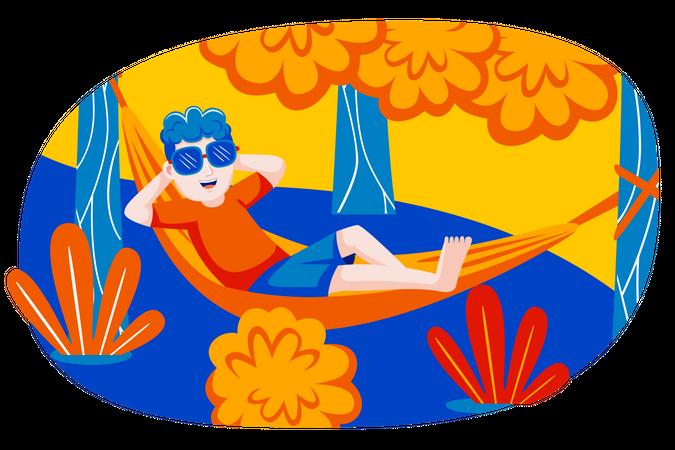 Boy lying on tree swing Illustration