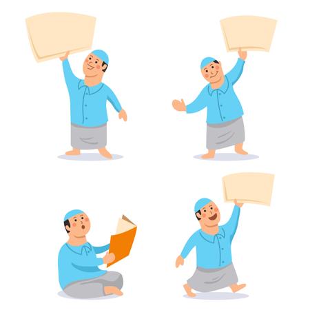 Boy Moslem Kids Character Bring Blank Paper Set Illustration