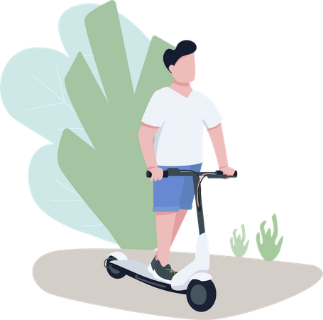 Boy on electric scooter Illustration