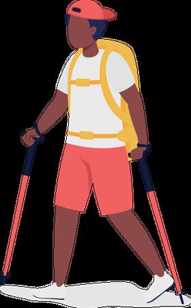 Boy on Nordic walk Illustration