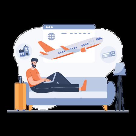 Boy planning trip Illustration