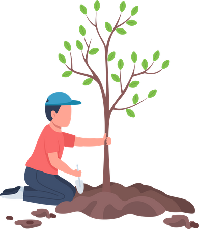 Boy planting tree Illustration