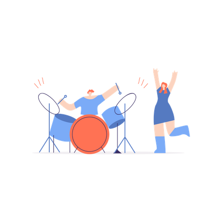 Boy playing drum and girl dancing Illustration