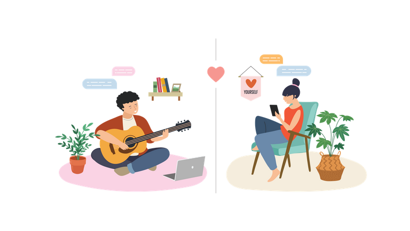 Boy playing guitar for his girlfriend on video call Illustration