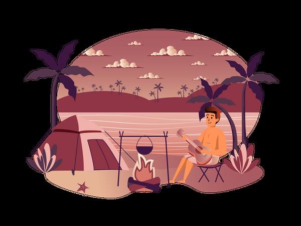 Boy playing guitar while camping Illustration