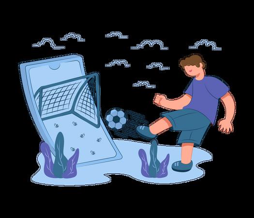 Boy playing online football game Illustration