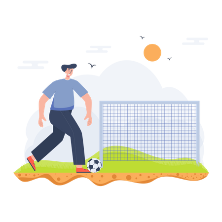 Boy playing the football game Illustration