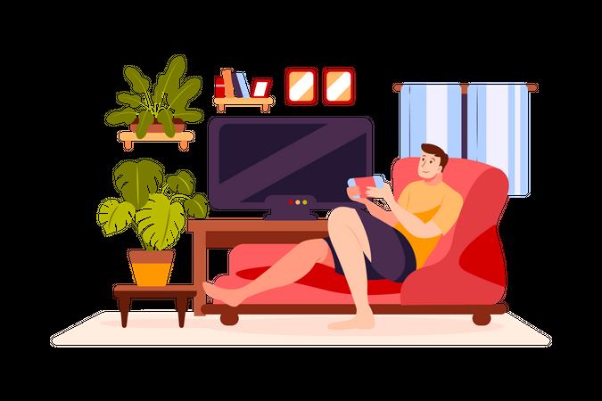 Boy Playing video game Illustration