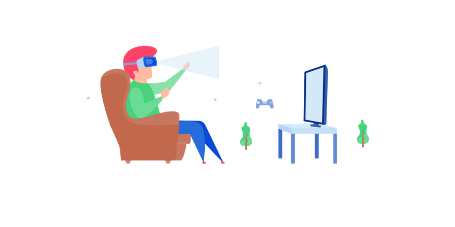 Boy playing video game using vr technology Illustration