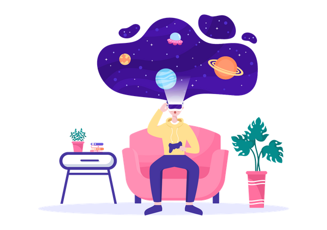 Boy Playing VR Space Game Illustration