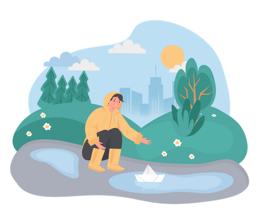Boy playing with paper boat in water pond Illustration